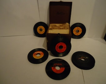 "50 Vintage 45 RPM Records with 45 RPM Platter Pak Carrying Case-1960s and 1970s-Oldies but Goodies-Storage Case-7"" Vinyl-"