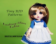 Looking Glass Lolita Doll clothes outfit pattern for Tiny BJD: PukiFee Lati Yellow & similar sized dolls