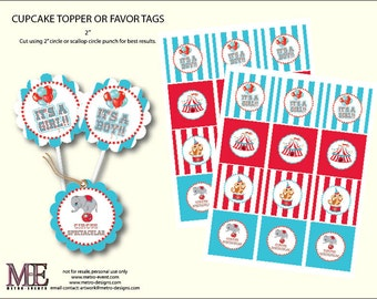 Circus Baby Shower Favor Tags/ Cupcake Toppers - Instant Download