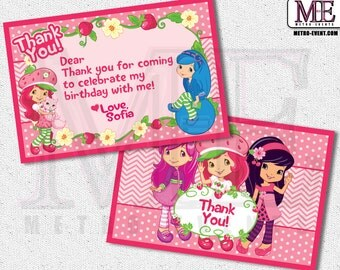 Strawberry Shortcake Thank You Cards, Strawberry Shortcake Thank You Notes, Strawberry Shortcake Cards, Thank You Cards, Thank You Notes