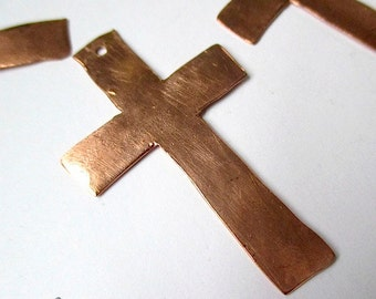 4 Hand Forged Copper Crosses Large Pendants Rustic Copper Christian Findings - 4 Pieces