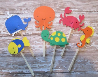 Boy Under the Sea Cupcake Toppers - Under the Sea theme, Summer Parties, Birthday Parties, Sea Creatures
