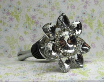 Blinged Out Flower Wine Bottle Stopper