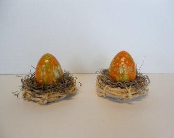 Orange and Green Marbled Easter Egg in Nest