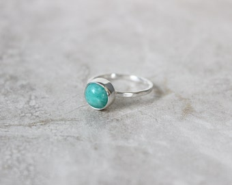 Brazilian Amazonite Ring, Petite Mint Ring, Gemstone Ring, Sterling Silver Ring, Stacking Ring, Stackable Ring