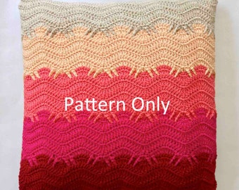 Crochet Pattern - Finger Wave Cushion - Orchid Colour Scheme - INTERMEDIATE crochet skills level