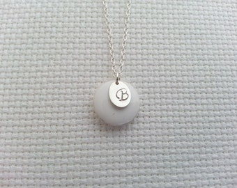 Initial Necklace. Oval Disc Necklace. Sterling Silver Necklace. Monogram Necklace. Customized Personalized. White Round Epoxy Charm