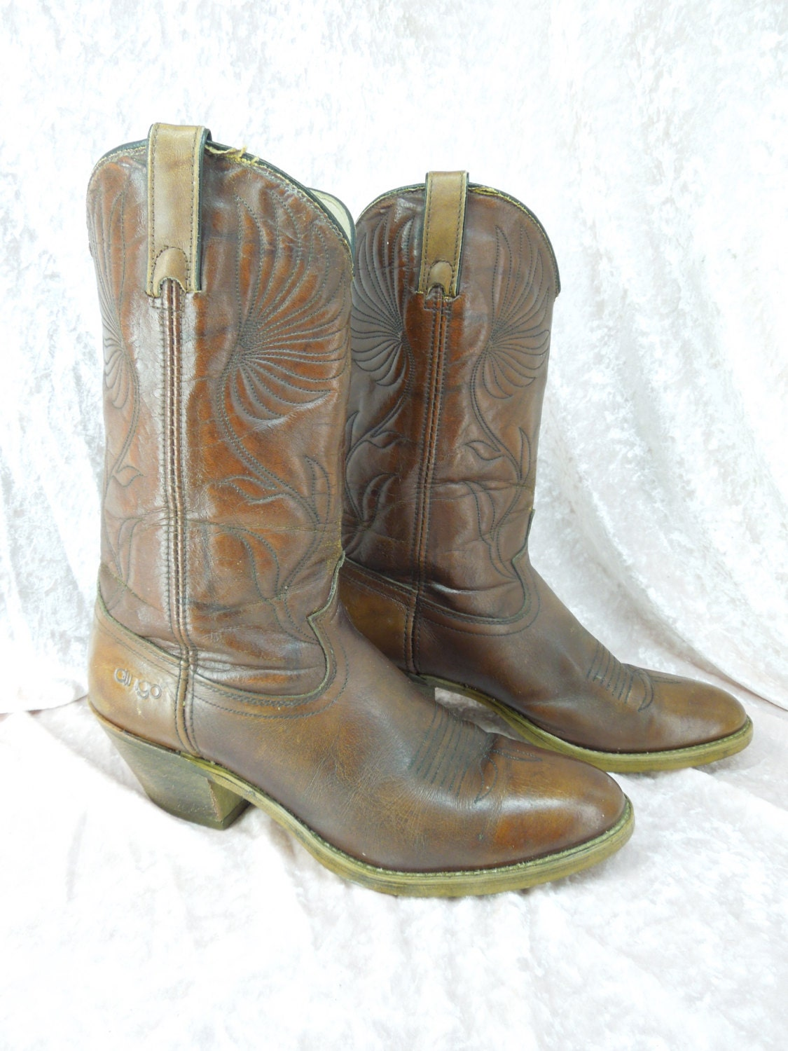 s dingo leather cowboy boots brown embroidered by