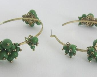 Vintage Large Bohemian Hoop Earrings - Green Glass Beaded Pierced Earrings - Boho Style Hoops - Womens Fashion Accessory