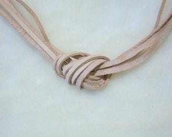 Genuine leather beige cord leather necklace 5 feet