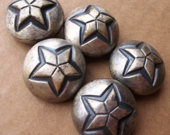 eco friendly chunky silver tone metal shank rounded dome buttons with protruding star design--matching lot of 5
