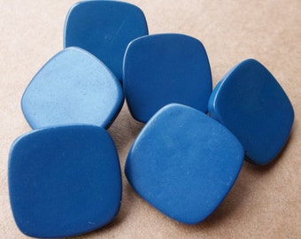 vintage eco friendly square blue shank buttons--matching lot of 6