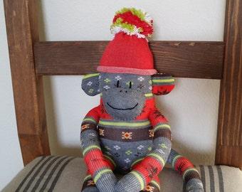 sock monkey doll, red sock monkey, christmas monkey, sock monkey plush, sockmonkey, monkey plush, xmas monkey, holiday gift idea, fair isle