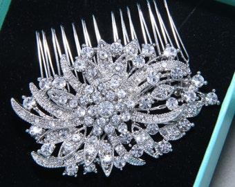 Vintage Style Flower Ribbon Spiral Shape Rhinestone Crystals Wedding Hair Comb, Bridal Hair Comb, Hair Accessory, Wedding Alligator Clip