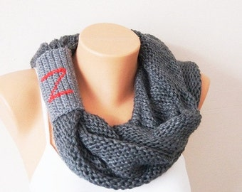 Personalized SCARF Personalized gift Gray Cape with hood, circle scarf, Cowl scarf, Scarf Neck Warmer