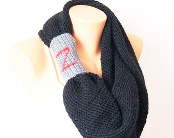 Personalized SCARF Personalized Black Cape with hood, circle scarf, Cowl scarf, Scarf Neck Warmer