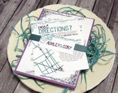 "Purple and Teal Wedding Invitation Set – Teal Wedding Invitations – Modern Wedding Invites – Custom Doodle Invite– ""Playful Romance"" Sample"