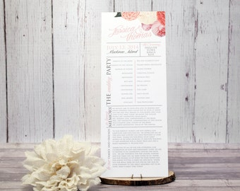 "Peony Wedding Ceremony Program – Floral Wedding Program –Vintage Program – Custom Wedding Program – ""Vintage Passion Peony"" Deposit"