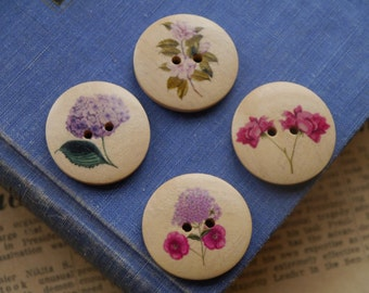 """8 LARGE Wooden Multicolor Floral Lilac Flower  Buttons 30mm 1 1/8"""" (WB2415)"""