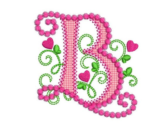 cute letter b alphabet for lil princess hearts applique embroidery design monogram initials valentines day applique