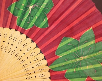 Hand fan -Silk Painted -Natural Wood -Green lili on red