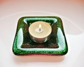 Dark Green Fused Glass Dish Glass Candle Holder Glass Ring Holder
