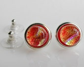 Red Gold Post Earrings Fused Glass Earrings Stud Earrings Fused Glass Jewelry Dichroic Jewelry