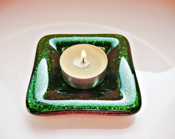 Sparkly Green Fused Glass Dish Glass Trinket Dish Ring Dish Gifts Under 20
