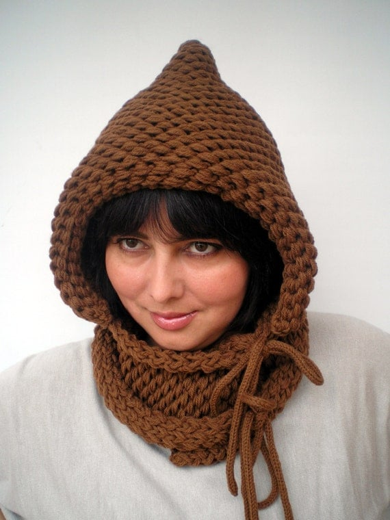 Double Spirit  Knit Hood Super soft Mixed   wool Woman  Hooded Cowl Spice Brown Chunky Hoodie