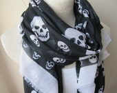 Skull scarf-skull print fabric scarf-white black scarf - women's scarves -men's scarves-office fashion-gifts for her-gifts him-woman fashion