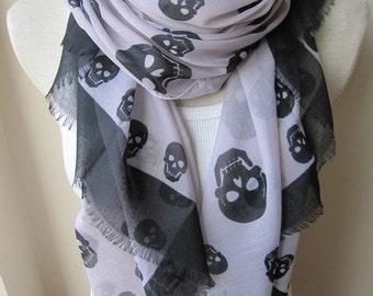 Skull print pinkish cream background black scarf - Turkish women's scarves -office fashion woman scarves2012
