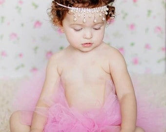 Princess Pink Couture Tutu Set with Pearl Rhinestone Headband Photography Prop Nebworn-3T available