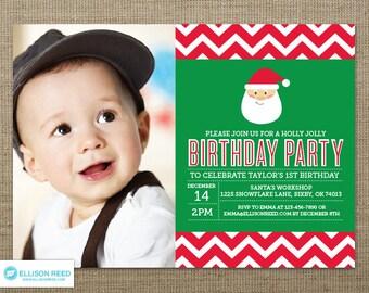 Christmas Birthday Invitation - Santa Birthday Party Invitation -  Holiday Birthday Invitation - Christmas Printable - Holiday Printable