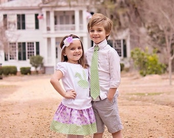 Easter Skirt Outfit and Headband Purple Green Easter Egg and Polka Dots Skirt Top Headband