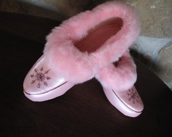 Pink Fuzzy Slippers, Size 5, Vinyl, Pearlized, Boudoir, Pearly Pink, House Slippers, Never Worn, star-burst, Vintage