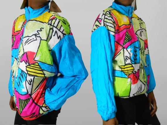 90s Windbreaker/ 90s Bomber Jacket/ Neon Jacket/ Fresh Prince