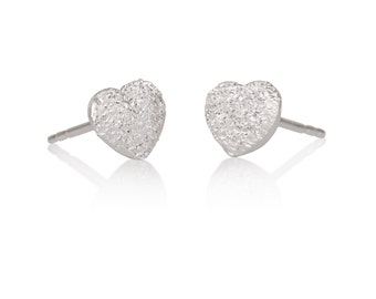 Sparkling Heart Stud Earrings