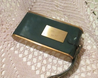 Vintage 1940's Dark Green and Brass Wristlet Compact by Wadsworth