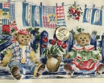 Teddy Bear Fabric / Cotton Fabric / Beloved Bears / Marcus Brothers / Nursery Fabric / Baby Fabric / 1 Yard