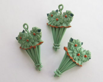 Umbrella Parasol Curtain Tacks Pin Backs Celluloid 1930s Green Flowers Easter Three Bulletin Boards