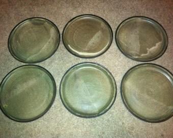 "Set of 6 Marked Vintage Plate set Cardinal point mark 7 3/4"""