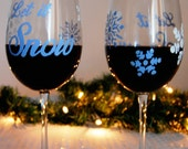 Hand Painted Wine Glasses - Snowflake Wine Glasses - Holiday Gift