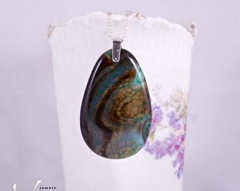Teardrop shape Dragon Nesenth large stone pendant, sterling silver pendant with dragon vein agate stone, brown, blue, dark yellow talisman