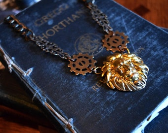 Steampunk Necklace, Steampunk Lions Head with Gold Gears and Filigree, Gold Lions Head Necklace, Victorian Jewelry, Statement Necklace,