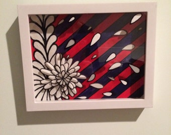 Stripes and Flowers Shadowbox