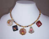 Painted Russian Wood Pendants with Sandalwood Bead Necklace
