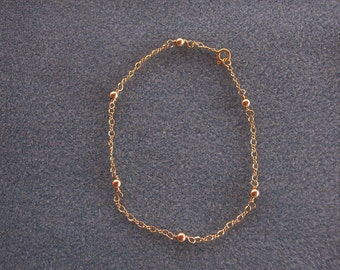 Anklet with Gold Chain and Beads