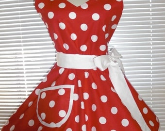 1950s Retro Apron Red Polka Dots Circular Flirty Skirt