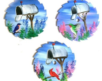 Hand Painted Miniature Round Saw Magnets Birds and Mailboxes Will Personalize
