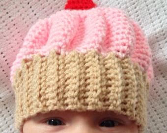 Pink Newborn Baby Crochet Cupcake Hat